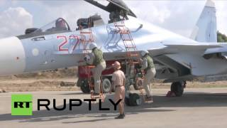 getlinkyoutube.com-Syria: Sukhoi Su-30M armed before take-off for another sortie