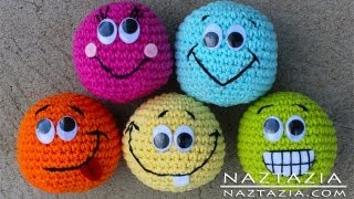 Learn How to Crochet - Basic Beginner Amigurumi Smiley Face Hacky Sack Ball Toy SC2TOG INVDEC Emoji