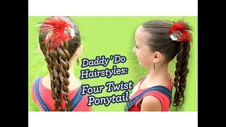 getlinkyoutube.com-Four Twist Ponytail | Daddy 'Do Hairstyles | Cute Girls Hairstyles