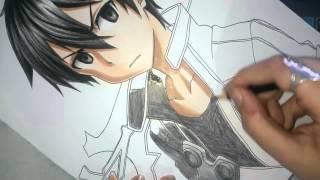 getlinkyoutube.com-Speed Drawing - Kirito (Sword Art Online)