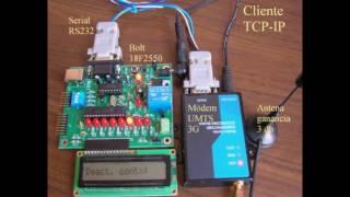 getlinkyoutube.com-Control remoto telemetría microcontrolador Bolt 18F2550 Red celular de datos módem UMTS TCP-IP