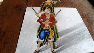 getlinkyoutube.com-Drawing 3D Luffy and Zoro from One piece