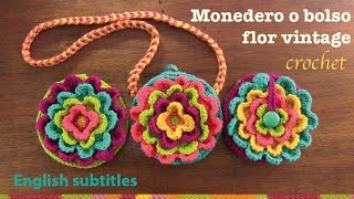 getlinkyoutube.com-Monedero Flor vintage a crochet / English subtitles: blooming flower purse