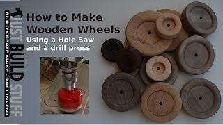 getlinkyoutube.com-How to Cut Wooden Wheels with a Drill Press and Hole Saw