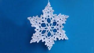 getlinkyoutube.com-Снежинка крючком How to crochet snowflake  Урок вязания