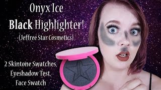 getlinkyoutube.com-Onyx Ice (BLACK Highlighter!) Jeffree Star Cosmetics Face Swatches, Use, & Review