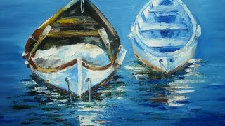 "getlinkyoutube.com-Palette knife, oil painting workshop ""Boats"" with Svetlana Kanyo"