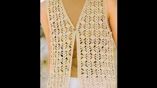 getlinkyoutube.com-Chaleco puntada Cuadritos a Crochet