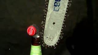 Opening Cider and Coke with a Chainsaw in Slow Motion | Slow Mo Lab