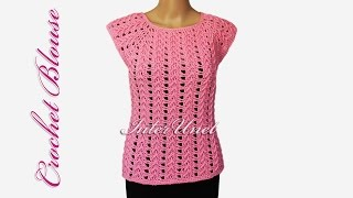 getlinkyoutube.com-Lace top - crochet pink blouse