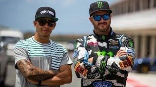 getlinkyoutube.com-Ken Block vs Lewis Hamilton - Formula 1 Vs Rallycross - Top Gear Live Barbados