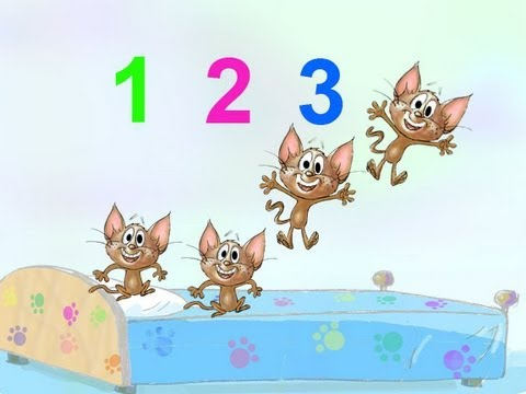 5 LITTLE MONKEYS JUMPING ON THE BED NURSERY RHYME SONG performed by 5 kittens