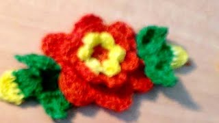 getlinkyoutube.com-CROCHET FLOWER WITH LEAVES PART-1
