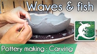 getlinkyoutube.com-Making a sculpted pot - Fish Jumping - bonsai pottery