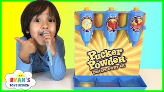 getlinkyoutube.com-PUCKER POWDER Custom Candy Kit! Sweet and Sour Kids Candy Review! Ryan ToysReview