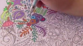 getlinkyoutube.com-Speed Coloring with Gel Pens : Lost Ocean by Johanna Basford