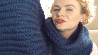 getlinkyoutube.com-HERRINGBONE STITCH SCARF -  Part 1 of 3 video knitting projects by The Casting On Couch
