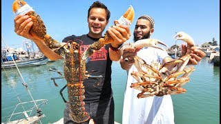 WOWWW!! Mega Seafood and BBQ CAMEL in Morocco! INSANE Street Food and Seafood Market Tour! width=