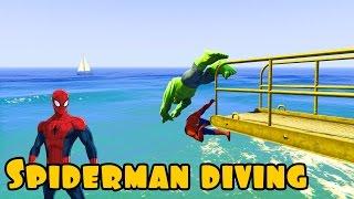getlinkyoutube.com-Spiderman and Hulk dive into the water. Cartoon for kids with nursery rhymes songs