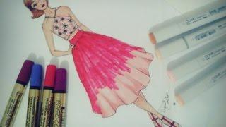 getlinkyoutube.com-Desenho de Moda Rápido (saia midi e cropped)