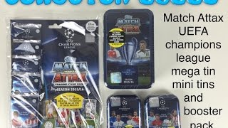 getlinkyoutube.com-Match Attax UEFA champions league 2015/2016 mega tin and 2 small tins and booster pack