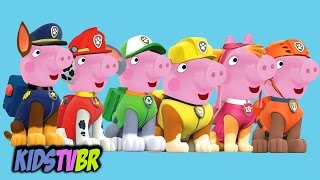 getlinkyoutube.com-PEPPA PIG TRANSFORMS INTO PAW PATROL PATRULHA CANINA CHASE MARSHALL ROCKY RUBBLE SKYE ZUMA