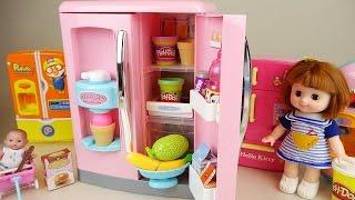 getlinkyoutube.com-Baby Doll ice cream Refrigerator and Play doh toys