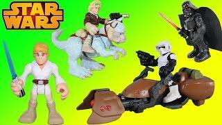 getlinkyoutube.com-Star Wars Playskool Heroes Luke Skywalker & Scout Trooper & Speeder Bike Join Darth Vader & Han Solo