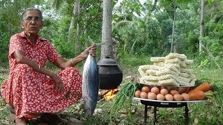 Tuna-Fish-Noodles-cooking-50-instant-noodles-in-my-village-by-Grandma width=