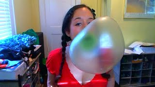Blowing big green bubbles!