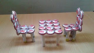 getlinkyoutube.com-Make Miniature Table & Chairs from Waste Bottle Caps: Recycled Craft Ideas