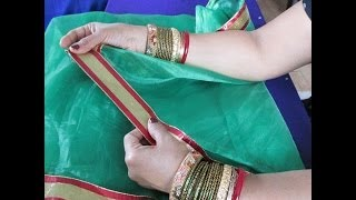getlinkyoutube.com-HOW TO PUT LACE OR TRIM ON A NET SAREE AND GIVE IT DESIGNER LOOK.