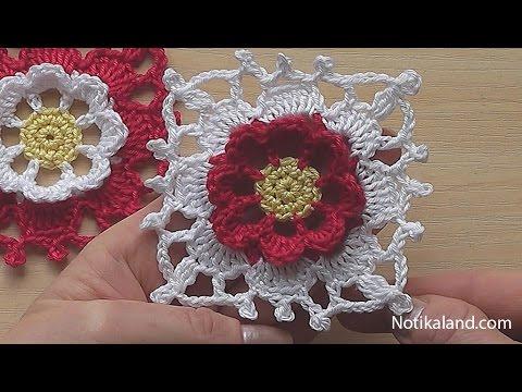 Crochet Square Motif Tutorial  Crochet  Flower Square blanket pattern