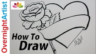 getlinkyoutube.com-Beautiful Easy Drawing For Real Beginners- How To Draw Heart rose & banner