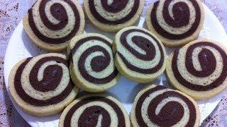 طريقة عمل بسكويت بالڤانيليا و الشيكولاته How to make Pinwheel Cookies