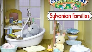 Sylvanian Families Calico Critter Country Bathroom Set Unboxing and Play Rabbit Bear - Kids Toys