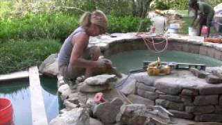 getlinkyoutube.com-Master Stone Mason Builds Natural Stone Spillway into Swimming Pool
