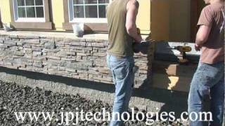 getlinkyoutube.com-Installation Stacked Stone Veneer Panels over using cultured stone. part -1