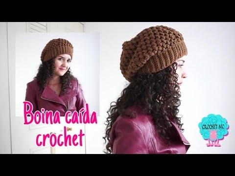 Boina caída a crochet- punto piña/ todas las tallas