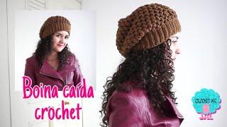 getlinkyoutube.com-Boina caída a crochet- punto piña/ todas las tallas