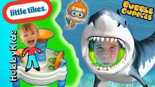 getlinkyoutube.com-SHARK ATTACK! HobbyPig + Bubble Guppies Little Tikes Spiralin WATERPARK Surprises HobbyKidsVids