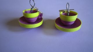 getlinkyoutube.com-quilling paper earrings  jhumkas design  cup saucer model handmade jewelry earrings