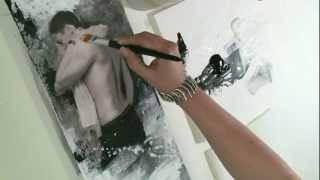 getlinkyoutube.com-Acrylmalerei Tutorial Thema Collage - männlicher Akt im Hochformat Begleitvideo zur Zeitschrift