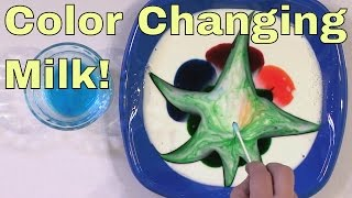 Color Changing Milk - Science Experiment! - Milk + Food Coloring = Surface Tension Science Trick!