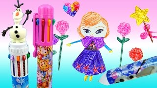 getlinkyoutube.com-LEARN TO DRAW Disney Frozen Anna 10 Multicolor Pen Stencils Olaf Shopkins 8 Colors IceCastle How to