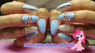 getlinkyoutube.com-Pastel Blue polka dot acrylic Nails - Nail Polish