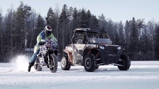 getlinkyoutube.com-UTV vs Motorbike ON ICE