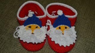 getlinkyoutube.com-Новогодние пинетки (Christmas booties)