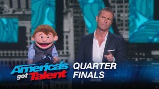 Paul Zerdin: Dummy Still Performs After Ventriloquist Walks Off Stage - America's Got Talent 2015 width=
