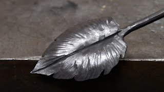 getlinkyoutube.com-Blacksmithing - Forging a larger decorative leaf